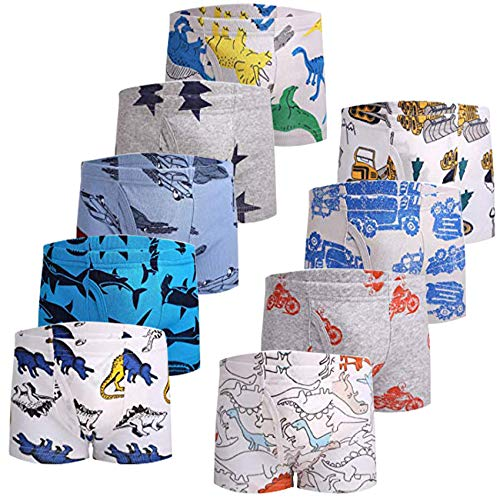 JackLoveBriefs Jungen Boxer Unterhose Baumwolle Kinder Unterwäsche (2-10 Jahre, Packung mit 9 Stück), Verschiedene Farbe und Motive, Herrsteller Gr. 130