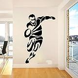 Grand Rugby Joueur Sport Autocollant Mural Chambre Salle De Jeux Football Football Athlète Sticker Mural Enfants Chambre Vinyle Decor85cmwidex54cmhigh