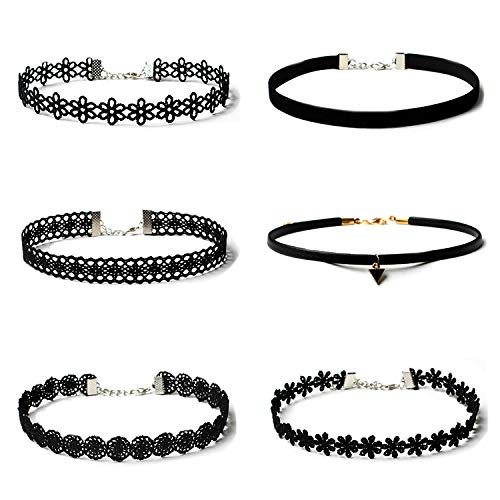 Maxforever Choker Set, 6 PCS Choker Necklaces Black Velvet Choker Set Classic Gothic Tattoo Lace Chokers
