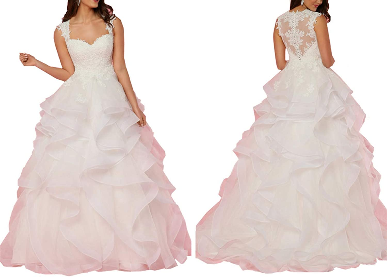 Kailiya 2018 Lace Women Wedding Dress White Ivory Ball Gowns