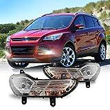 Fog Light Set for 2013-2016 Ford Escape w / Turn Signal Light + Halogen Bulbs + Bracket, NIXON OFFROAD Fog Light Assembly, Fog Lamp Combo Replacement Chrome Black Cover Clear Lens - H10 12V 42W