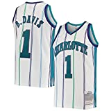 HJHG Customized Baron 1999-2000 Season Davis Basketball Jersey Charlotte Hornets NO.1 Hardwood Classics Swingman Jersey Gilet - Blanc