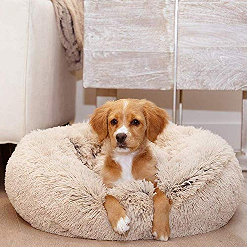 XHNXHN Cama Redonda para Mascotas Cueva de Nido de Felpa Suave, Cojines para Perros acogedores y Lavables de Lujo, sofá para Gatos con Forma de rosquilla, Cama para Perros extragrandes, Beige, 120