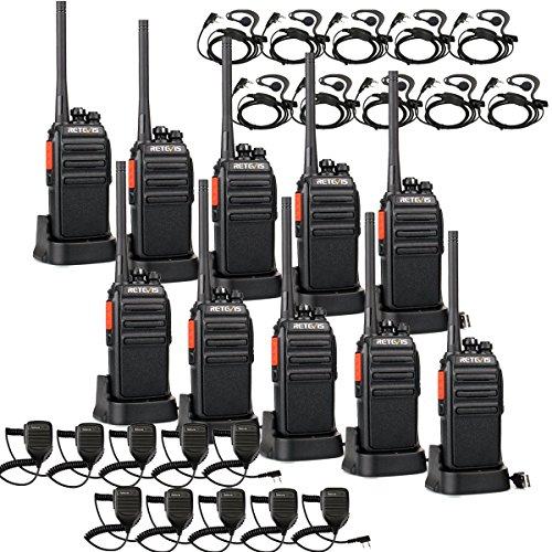 Retevis RT24 Plus Walkie Talkies PMR Funkgerät mit Mikrofon Walkie Talkie mit Headset 16 Kanäle Wiederaufladbar USB Ladeschale Funkgeräte Set (5 Paar, Schwarz)
