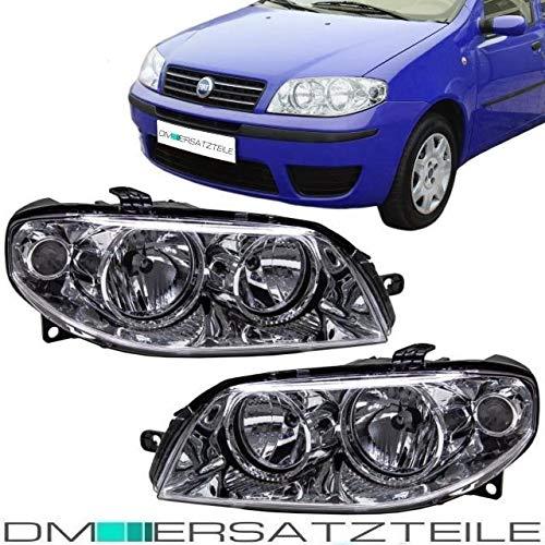 DM Autoteile Punto 188 Scheinwerfer SET Links Rechts Halogen H7/H1 Chrom Klarglas 03-04