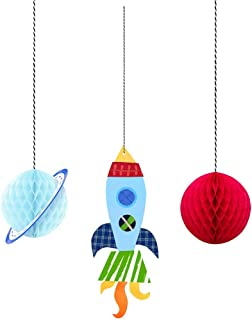 """Outer Space Hanging Honeycomb Party Decorations 6"""", 3 Ct."""