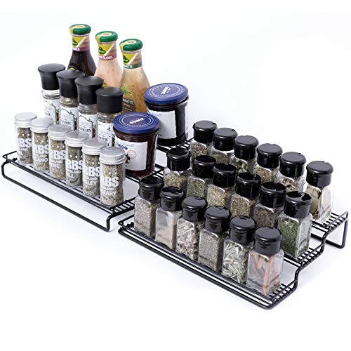 Spice Rack3 Tier Spice Rack Organizer for CabinetCabinet Organizers and Storage Kitchen Spice Shelf StorageExpandable Kitchen Spice Organizer with Protection Railing 125 to 25quotW Black