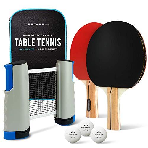 Pro Spin Tragbares Tischtennis Set | Hochwertiges Set mit Einziehbarem Tischtennisnetz Für Jeden Tisch, Tischtennisschlaeger, 3-Sterne-Tischtennisbälle & Tasche | Als Geschenk, Für Innen & Außen