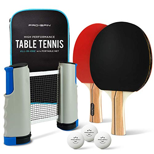 PRO SPIN Play Anywhere Portable Ping Pong Set – 2-Player Kit with Ping Pong Net for Any Table, Premium Ping Pong Paddles, 3-Star Balls, Convenient Storage Case | Table Tennis Set with Retractable Net