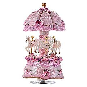 ACCOCO Carousel Music Box Luxury Color Change LED Light Luminous Rotating 3-Horse Carousel Horse Music Box Melody…