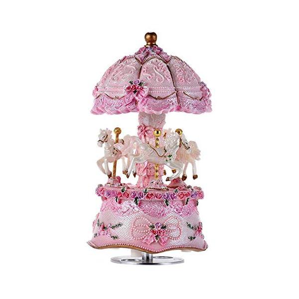 ACCOCO Carousel Music Box Luxury Color Change LED Light Luminous Rotating 3-Horse Carousel Horse Music Box Melody… 3