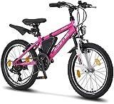 Licorne Bike Guide Bicicleta de montaña de 20 Pulgadas, Cambio Shimano de 18 velocidades, suspensión de Horquilla, Bicicleta Infantil, para niños y niñas,Bolsa para Cuadro,Rosa/Blanco