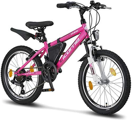 Licorne Bike Guide Premium Mountainbike in 20 Zoll - Fahrrad für Mädchen, Jungen, Herren und Damen - Shimano 18 Gang-Schaltung - Rosa/Weiß
