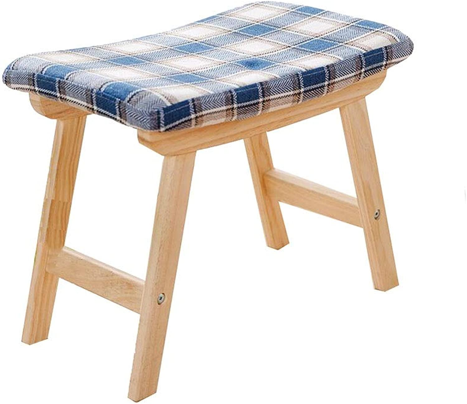 YCSD Modern Small Bench Stool Concave Seat Surface Makeup Dressing Stool Padded Bench with Rubberwood Legs (color   Plaid color, Size   48 x30x40cm)
