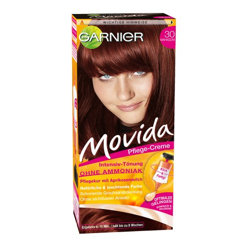 Garnier Tönung Movida Pflege-Creme/Intensiv Tönung Haarfarbe 30 Mahagoni, 3er Pack (3 x 1 Stück)
