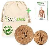 BACKLAxx® Faszienball – Set 5 cm und 7cm nachhaltiger Massageball aus Kork mit Aufbewahrungsbeutel – antibakterieller Korkball ideal zur Selbstmassage - GRATIS eBook Triggerpunkte