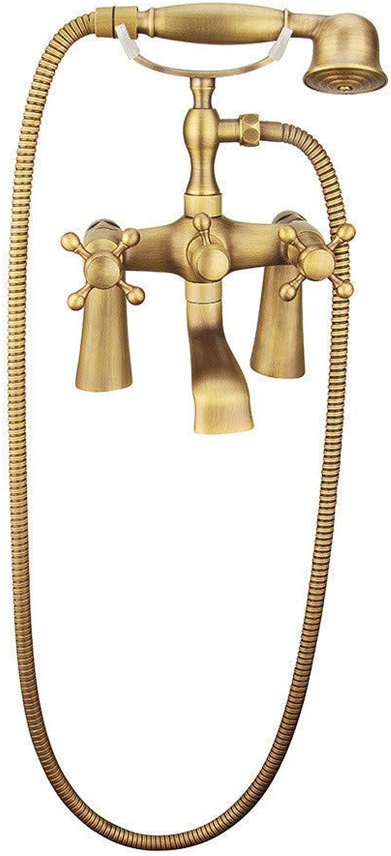 FuweiEncore Duschen All-Kupfer Antikes Badezimmer Einfache Europische Retro Telefon Dusche Grüncktes Mischventil B (Farbe   -, Gre   -)
