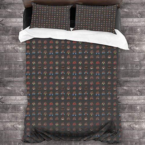 Butlerame Poo Emoticons Face Bedding Sheet 3-Pieces Set Duvet Cover Pillow Cases