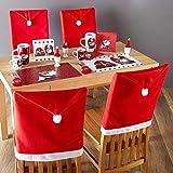 Set 4 x Coprisedia Natalizi Forma Babbo Natale Decorazione Natalizia Copri Schienale Sedia Sala da pranzo Natalizio Dimensione 50 x 60 cm in Tessuto Feltro Addobi Natalizi Casa (Rosso Cappello)