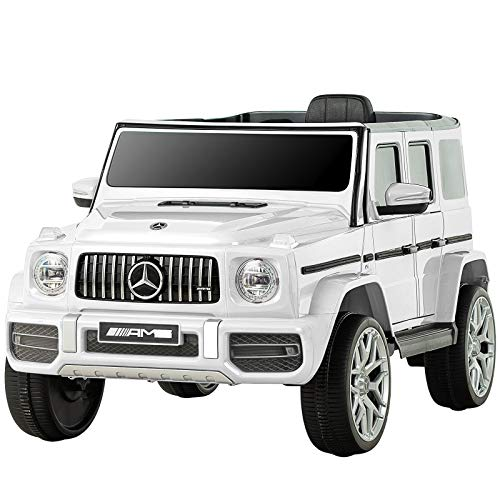 Uenjoy 12V Kids Ride On Car Electric Cars Motorized Vehicles for Girls,Boys, with Remote Control, Music, Horn, Spring Suspension, Safety Lock, LED Light,AUX, White