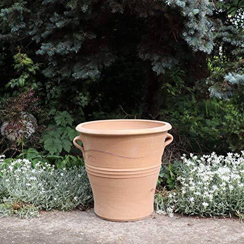 Kreta Keramik | Handgefertiger frostfester Terracotta Blumentopf Pflanzgefäß mit Henkeln | 40 cm | Pflanzkübel aus Kreta | Salvia