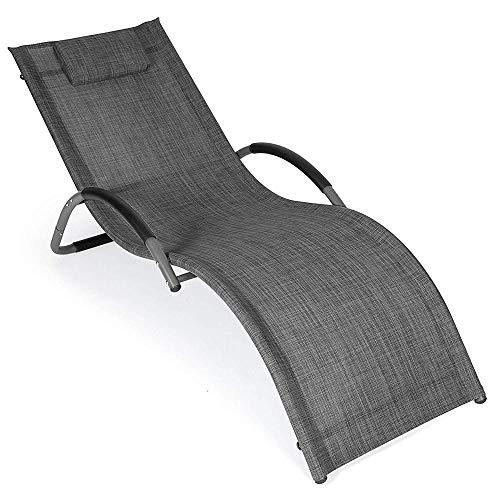 ALL-JingHong Sonnenliege verstellbar Saunaliege Bäderliege Poolliege Relaxliege– Gartenliege für Garten Terrasse oder Balkon - Wellnessliege Schwarz JH-947
