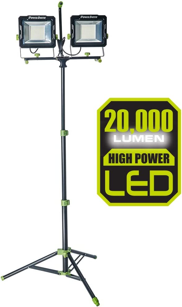 PowerSmith PWL2200TS Ranking TOP13 20 000 Lumen Raleigh Mall Light Dual-Head Work with LED