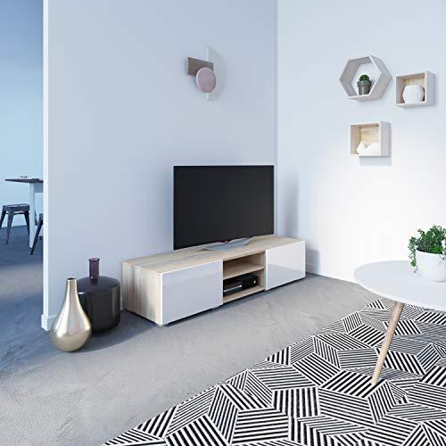TemaHome Meuble TV avec 2 Niches/2 Tiroirs Bois Chêne/Naturel/Blanc/Laque 140 x 31 x 42 cm 3053A3419L02