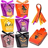 Halloween Candy Bags Treat Bags, 30 Packs Halloween Paper Party Bags for Treat or Trick & Party Supplies, Halloween Goodie Bags for Kids - Perfect Halloween Decorations, 6 Different Pattern Designs with Ribbon