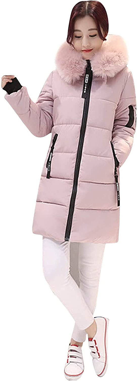 FIRERO Down Cotton Jacket for Womens Solid Quilted Winter Coat Fur Collar Hooded Jacket Parka Outerwear