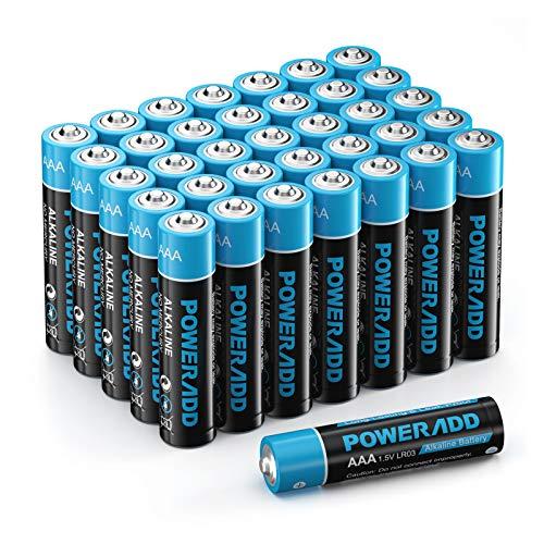 POWERADD AAA Alkaline Batterien LR03 Mignon Batterien 1.5 V als leistungsstarke Einwegbatterien (44er Pack)