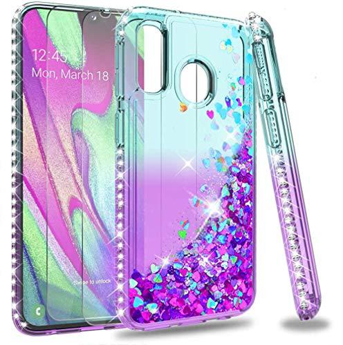 LeYi per Cover Samsung Galaxy A40,Custodia Glitter con Vetro Temperato [2 Pack],Brillantini Diamante Donna Silicone Sabbie Mobili Antiurto Bumper Case per Custodie Samsung A40 Turquoise Viola Gradient