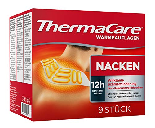 ThermaCare Nackenumschläge – Wärmeumschläge für Schulter & Nacken zur Linderung von Nackenschmerzen – Tiefenwärme zum Entspannen & Lockern der Muskeln – 9 Stück pro Packung