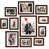 Homemaxs Picture Frames Collage Set - 11 Pack Rustic Wooden Photo Frame Wall Gallery Kit for Tabletop or Home Decor With Mat, Four 4x6 in, Four 5x7 in, Two 8x10in, One 11x14in-Black Walnut