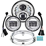 AlyoNed 7 inch Motorcycle LED Headlight 4.5' Fog Passing Lights DOT Kit Compatible with Harley Davidson Fat Boy Street Glide Heritage Softail Road King Electra Glide Ultra Classic Switchback Chrome