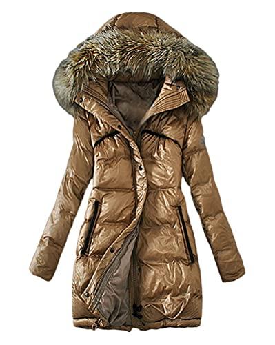 Minetom Damen Winterjacke Lange Daunenjacke Warm Parka Jacke Mit Künstlich Fellkapuze Steppjacke Wintermantel Daunenmantel E Khaki 42