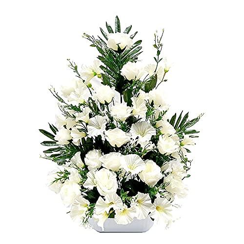 Centro de Flores Artificiales para Cementerio e Iglesia. Todos los Santos. (Blanco)
