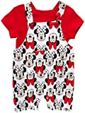 Disney Baby Girls' Romper - 2 Piece Overall T-Shirt Set : Minnie Mouse, Winnie The Pooh, Size 0-3, White/Red/Multi Minnie