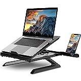 Phiraggit Laptop Ständer, tragbarer, höhenverstellbarer Laptop-Riser, Tablett zur Unterstützung der Wärmeableitung für Notebooks und Tablets, integrierte Faltbare Beine und Telefonhalter