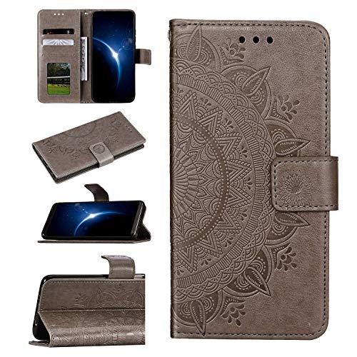 Urhause Compatibel met Samsung Galaxy A50S, Half Totem reliëf patroon ultradun lederen tas portefeuille beschermhoes met standfunctie kaartenvak magneetsluiting Lanyard telefoonhoes