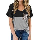 ABINGOO Camisetas de Manga Corta para Mujer Leopardo Blusas Tops de Túnica T Shirt con Color Patchwork (Negro,XXL)