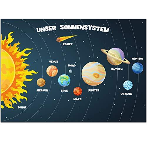 Unser Sonnensystem Poster KInderzimmer Weltall Austronaut Weltraum Lernposter Sonne Rakete Kinderposter Kinderzimmer Deko Print Wandbild Plakat Lernposter Erde Mars Merkur Jungs Mädchen