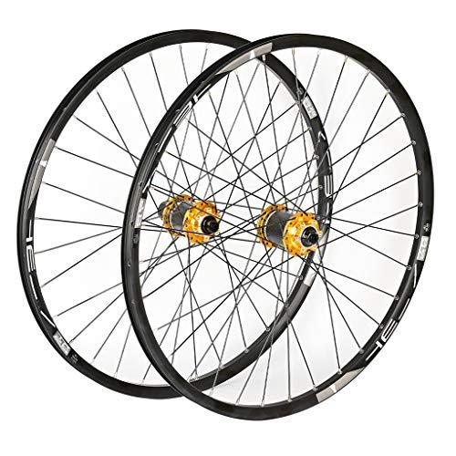 VPPV Ruedas de Bicicleta MTB 26/27,5/29 Pulgadas Double Wall Aleación Magnesio Rodamiento Sellado Ruedas Montaña 8 9 10 11 Velocidad (Color : Yellow, Size : 27.5inch)