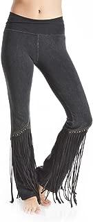 Women's Studded Fringe Leg Mineral Wash Yoga Pants