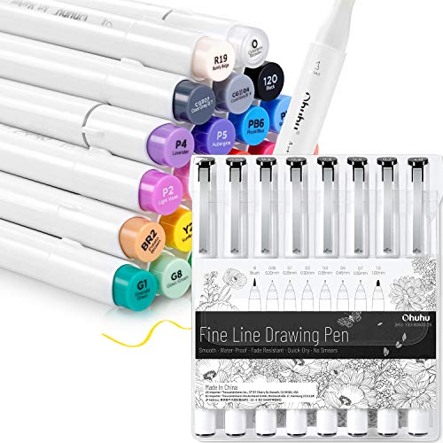 Ohuhu Alcohol Art Markers Brush Tip, Double Tipped Alcohol Based Markers (Chisel & Brush) + Fineliner Drawing Pen Set of 8 Pack Ultra Fine Line Drawing Markers