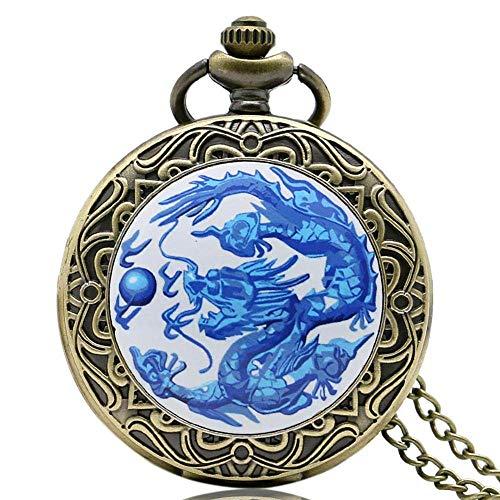 ZHAOXIANGXIANG Reloj De Bolsillo,Retro Blue Fire Dragon Punk Evil Dragon Reloj De Bolsillo De Cuarzo Collar Colgante Cadena Reloj De Bolsillo De Bronce para Hombres Mujeres