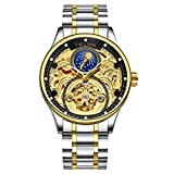 Skeleton design; Gold Dial with transparent Automatic movement and Tourbillon showcasing Premium craftsmanship Dial diameter: 42 mm (Large size); Case Thickness: 14 mm; Weight: 150 g; Band Length: 19 cm / 7.4 inch, strap length can be adjusted Watch ...