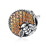 HSUMING Bienenhaus Anhänger 925 Sterling Silber Zirkonia Charms Perlen Armband Halskette Schmuck Zubehör
