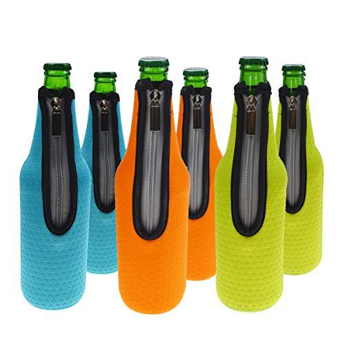 Orchidtent Bier Flaschenkühler, 6 Stück 17,6 Oz (500ml) Neopren Isoliert Reißverschluss Faltbar Bier Flaschen Kühler / Weinkühler / Getränkekühler (6Farben)