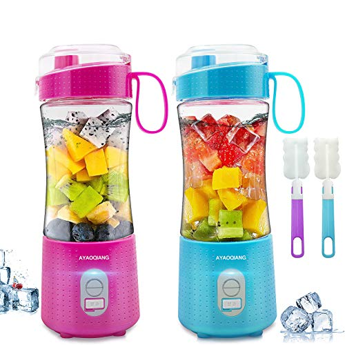 Portable Blender 2 Pack, Personal Juicer for Shakes and Smoothies Baby Food Processor and Blender Bottle Handheld Mixer Small Mini Fruit Electric Makers USB Rechargeable Home Office Outdoors Travel